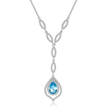 Simulated Pear Shaped Blue Topaz and CZ Formal Occasion Statement Necklace