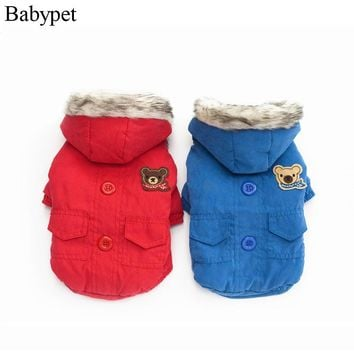 Newest hoodie dog clothes for winter solid blue red pet dog coat jacket for dogs clothing for puppy dog chihuahua yorkshire