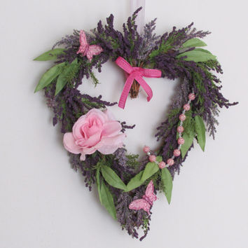 Wreath Lavender, Lavender Rose Wreath, Heart Wreath