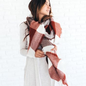 Marsala Color Block Plaid Blanket Scarf