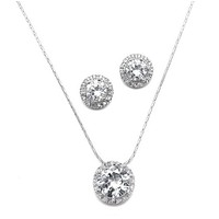 1.5CT Round Cut Halo Russian Lab Diamond Necklace and 2CT Round Cut Halo Earring Set