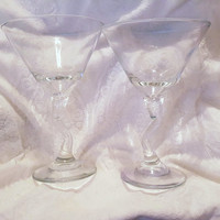 Libbey Crooked Stem Martini Glasses Set of 2 Vintage Circa 1980 Barware Libbey Crooked Stem Cocktail Glasses