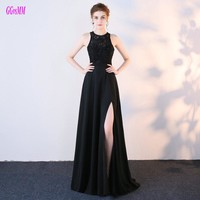 Fashion Black Long Prom Dresses 2017 New Sexy Party Evening Gowns O-Neck Chiffon Lace Beading Backless Floor-Length Prom Dress