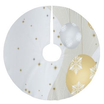 Silver and Gold Brushed Polyester Tree Skirt