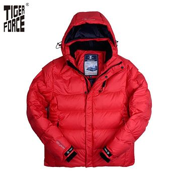 TIGER FORCE Men Winter Jacket Fashion Padded Cotton Coat Parka Winter Thick Polyester Jacket Downsulate Brand Free Shipping