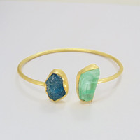 Semi Precious Bangle - Blue Apatite Bangle - Stackable Bangle - Gold Plated Bangle - Rough Stone Bangle - Solid Brass Bangle - Gift For Her