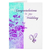 Blue and Purple Wedding Card