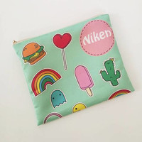 Kawaii wedding - Cute girly design - Bridesmaid Make up Bag - Bridesmaid Clutch -  Ice cream rainbow cactus hamburger cosmetic bag