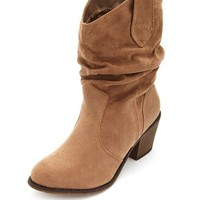 Sueded Slouchy Cowboy Boot: Charlotte Russe