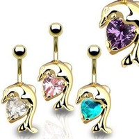 """Gold Plated Navel Belly Button Ring Dolphin with Solitare Heart CZ - 14GA 3/8"""" Long (Sold Ind.)"""