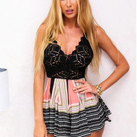 Strappy Print Lace Patchwork Romper