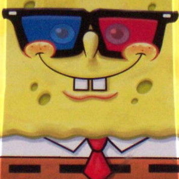 Official Spongebob Squarepants wearing 3D glasses Fridge Magnet 2.5 X 3.5