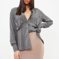 Missguided - Gray Oversized Shirt