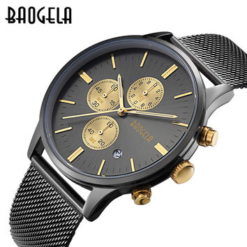 Men's Watches Fashion Sports quartz-watch stainless steel mesh men watches Multi-function Wristwatch Chronograph