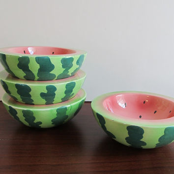 Watermelon Bowls - Holt Howard - Set of 4 - Mid Century, Kitsch, Retro, Ice Cream, Dessert Bowl, Summer Serving
