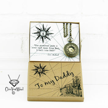 Father's day gift from daughter Father gift from son men gift custom pocket watch in box personalized gift for Dad gift from kids Daddy's