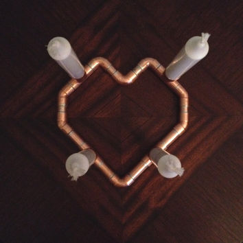 Heart Shaped Copper Candle Holder, Romantic Dinner for Two Wedding Centerpiece, Romantic Centerpiece, Wedding Anniversary, Wedding Gift