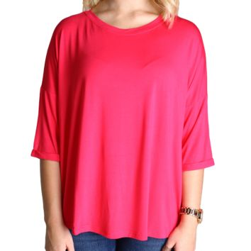 Fuchsia Piko Loose Sleeve Top