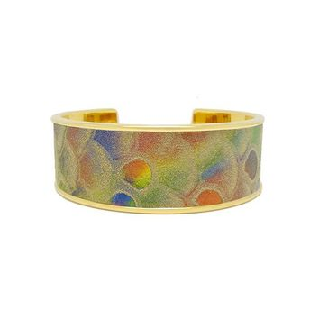 Rainbow Metallic Snake Embossed Leather Bracelet Cuff Wide