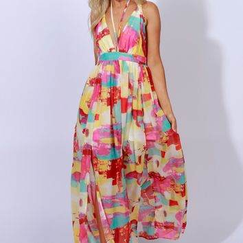 Lost & Found Print Maxi Multi Pink