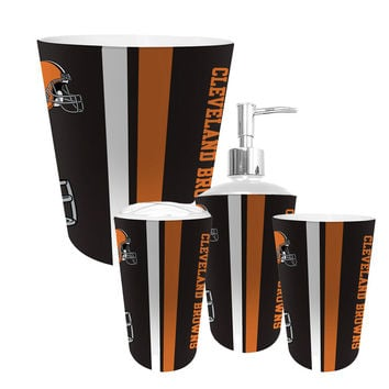 Cleveland Browns NFL Complete Bathroom Accessories 4pc Set
