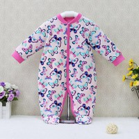 2018 Newborn Baby Girls Rompers Long Sleeve Pure Cotton One Piece Overalls Button Sleepwear Children Clothes Cute Kids Clothing