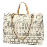 CHANEL Small shopping bag canvas / Calfskin white A 91745 Free Shipping
