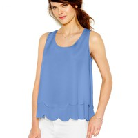 Maison Jules Tiered Scallop-Trim Tank Top