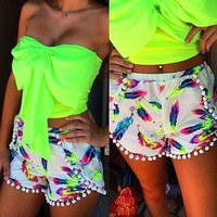 Zeagoo Sexy Women Summer Feather Print Shorts Beach Shorts With Tassel