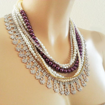 Purple Wedding Pearl Rhinestone Necklace - Chunky Statement Bridal Necklace - Silver and Gold Vintage Style Mother Bridesmaids Gift