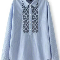 Blue Long Sleeve Pinstripe Paisley Embroidered Blouse
