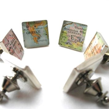 Map Tie Tack or Lapel Pin - Square