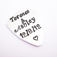 Custom Name & Date Hand Stamped Silver Guitar Pick, Gift for Him, guitarist, wedding date, anniversary date, heart, plectrum, musician gift