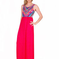 Long Multi-Colored Feather Print Dress - Pink