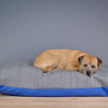 Designer Dog Bed (Large, XL) - White & Blue Striped Denim pet bed