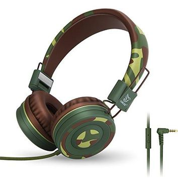 Yomuse C89 On Ear Foldable Headphones w/ Microphone, Adjustable Headband for Kids Adults, iPhone iPad iPod Computers Tablets SmartPhones DVD, Camo Green