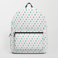 Turquoise and coral raindrops Backpacks by Savousepate
