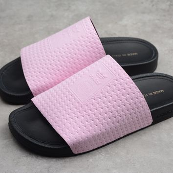 Hcxx 19June 039 Adidas Adilett Luxe W Suede Causal Slippers Pink Black