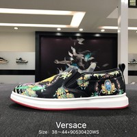 Versace Fashion Casual BAlack Big Logo Low Help Flat Running Sports Shoes Sneakers