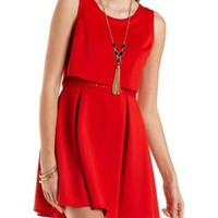 Layered Skater Dress with Lace by Charlotte Russe