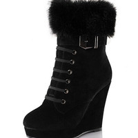 Fur Women's Ankle Boots Wedges Boot Shoes Woman (US Size) = 1932536196