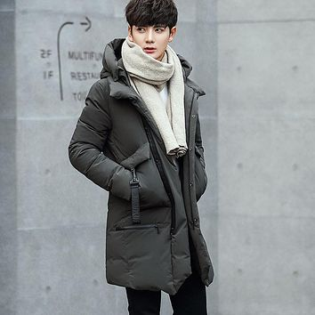 2017 Latest In The Long Winter Style Fashion Casual thicken waterproof white duck Down hooded Jacket Male High Quality