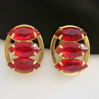 Vintage Red Navette Rhinestone Gold Tone Earrings / Open Back Stones / Mid Century Jewelry / Jewellery