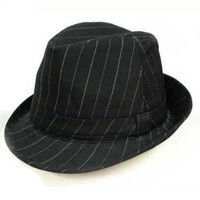 Luxury Divas Pinstripe Black Structured Fedora Hat