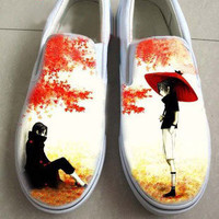 Hand Painting Shoes Naruto Uchiha Sasuke Slip On Canvas Shoes