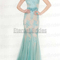 Aqua and Nude Lace Applique Flouce Gown Sheer Bateau Neckline with Cap Sleeves Floor Length Mother of Brides Gown Maid of Honor