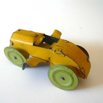 Vintage Tin Lithograph Winged Race Car Toy