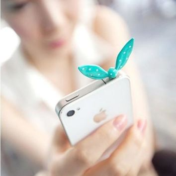 Cute Dust Plug Rabbit Ears Butterfly Knot 3.5mm Headphones Gadgets Universal Mobile Phone Accessory Telephone plug For Iphone