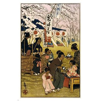 helen hyde BLOSSOM TIME IN TOKYO fine arts poster 1914 24X36 JAPANESE TEA