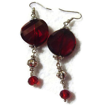 Garnet Red Glass Crystal Twists Beads Handmade Dangle Earrings 151